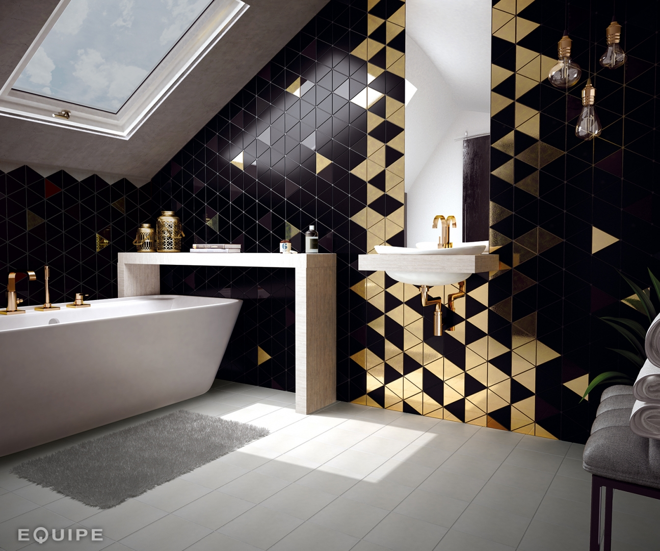 The Scale Collection Triangle Shaped Tiles Dublin Ireland Black Metallic