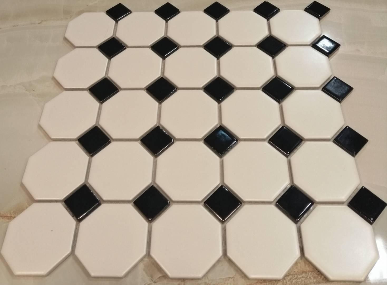 White Black Octagonal Mosaic Tiles Dublin Ireland