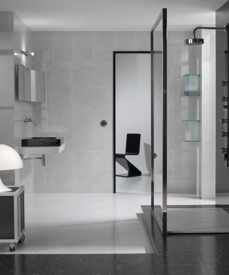 Black and White Marble Bathroom in Polished Porcelain Tiles from Tiles.ie Dublin