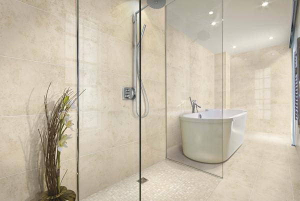 Bathroom in Polished Jura Beige Stone Tiles from Italian Tile and Stone Dublin