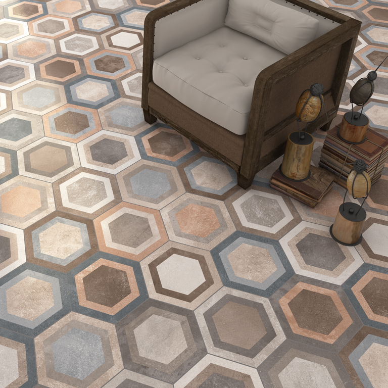 Vintage hexagon tiles for Carrelage style tomette