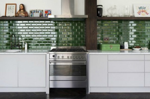 Green Kitchen Wall Tiles