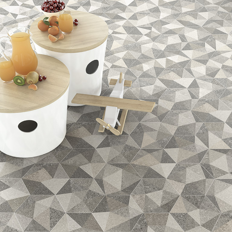 Patterned Hexagonal Tiles