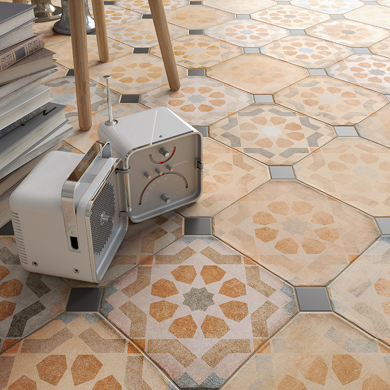 Patterned Octagonal Tiles