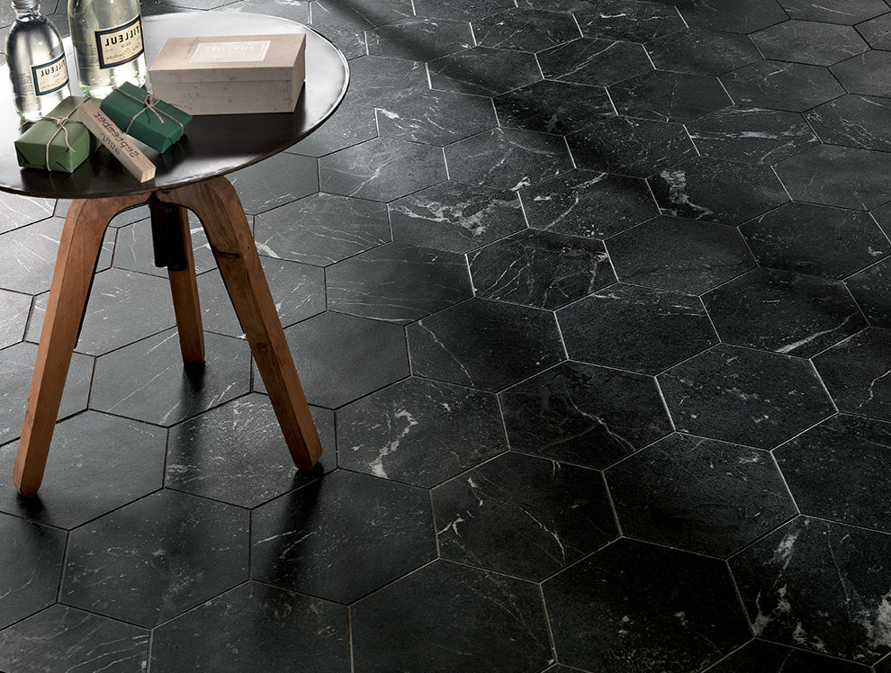 Tiles Ireland Black Marble Hexagon
